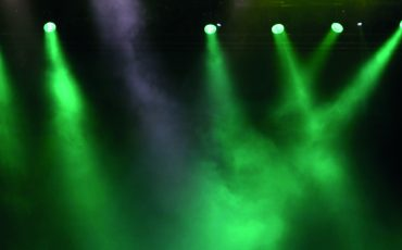 Green spotlights with smoky air