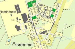 Karta över lediga tomter i Ölsremma