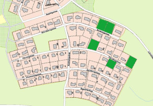"""Karta över lediga tomter i """"fruktområdet"""" i Tranemo"""