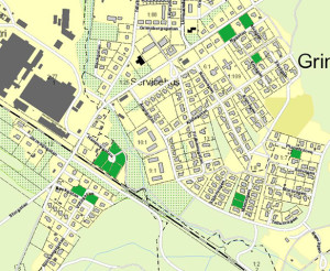 Karta över lediga tomter i Grimsås