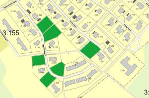 Karta över lediga tomter i Länghem