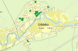 Karta över lediga tomter i Uddebo