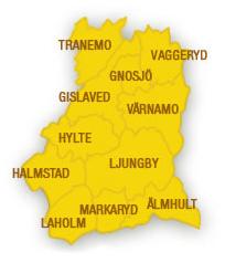 Karta över de kommuner som ingår i Entreprenörsregionen