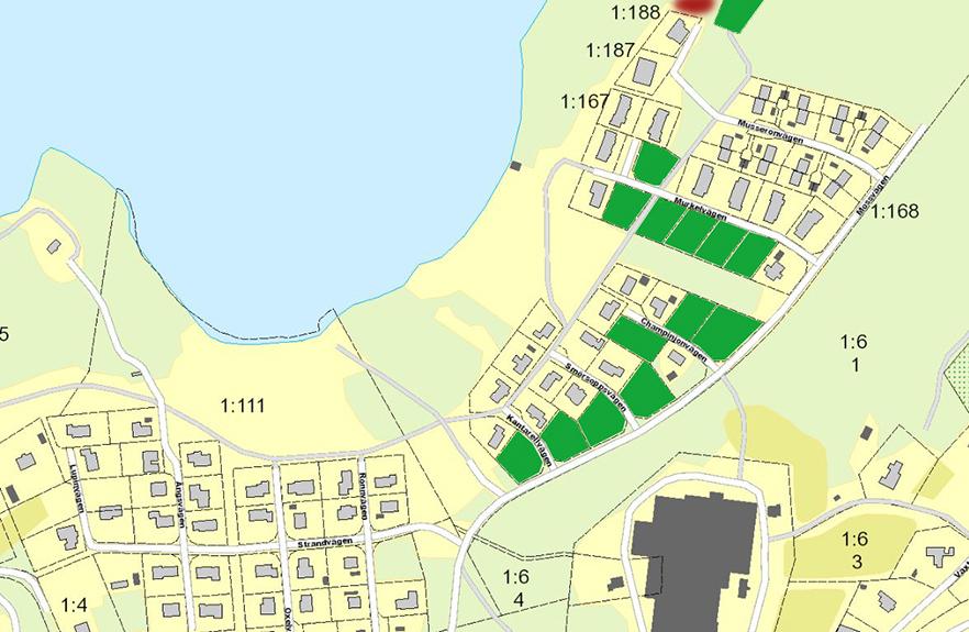 Karta över lediga tomter i Dalstorp Svampområdet, röd markering innebä att tomten är reserverad