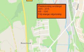 Karta som visar avstängd väg och vilka alternativa vägar det finns istället