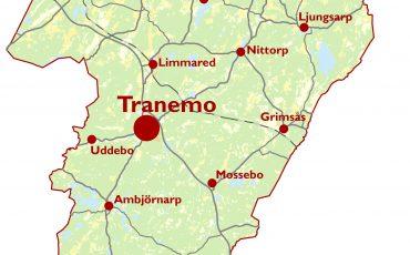 Kartvy över Tranemo kommun