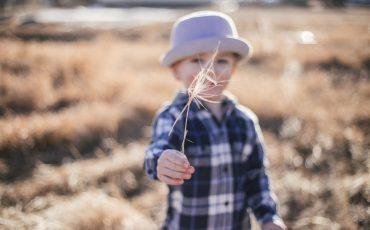 Pojke med sädeskorn i handen