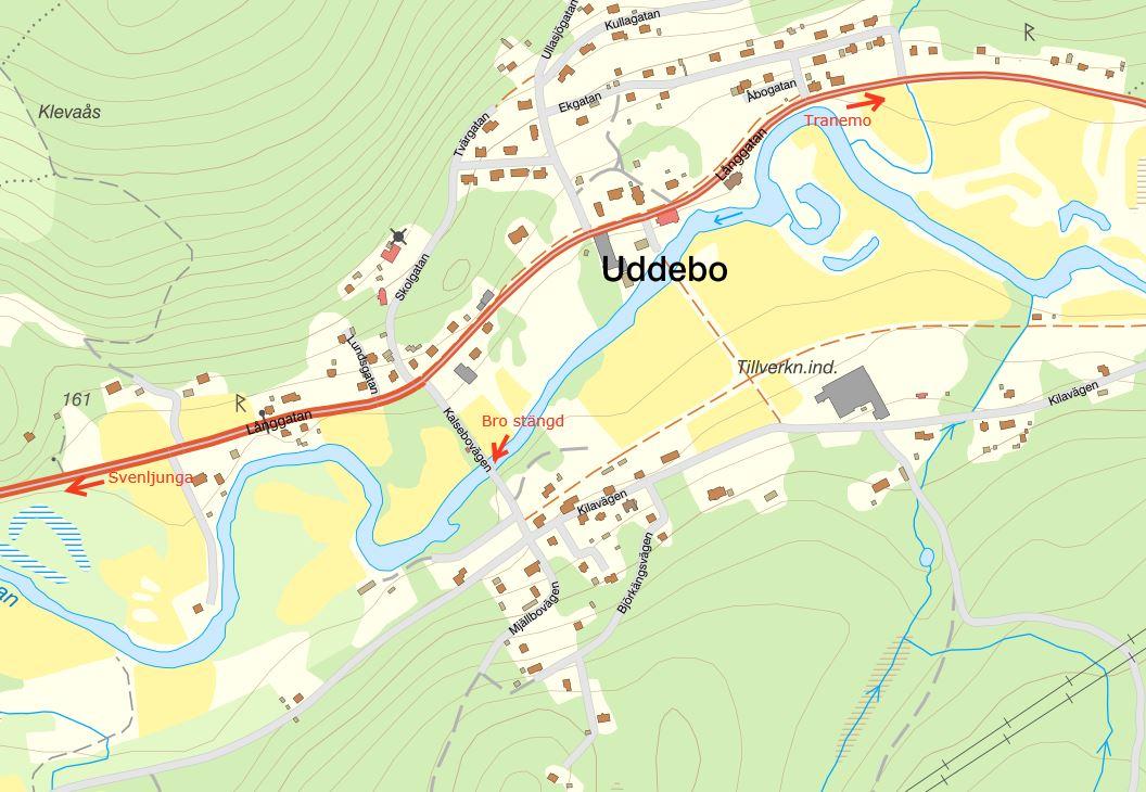 Karta över Uddebo och den bro som kommer att vara avstängd