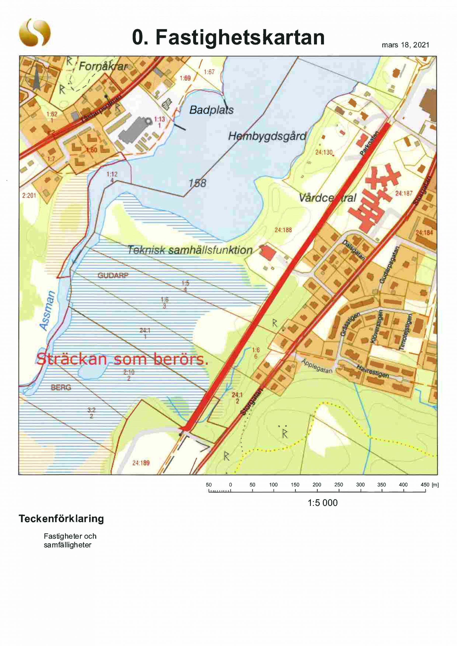 Karta som visar vid vilken sträcka avverkningen ska ske
