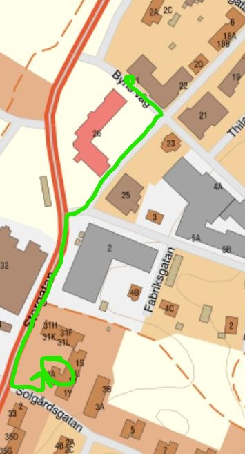 karta som beskriver vägen från Byns väg till Solgårdsgatan