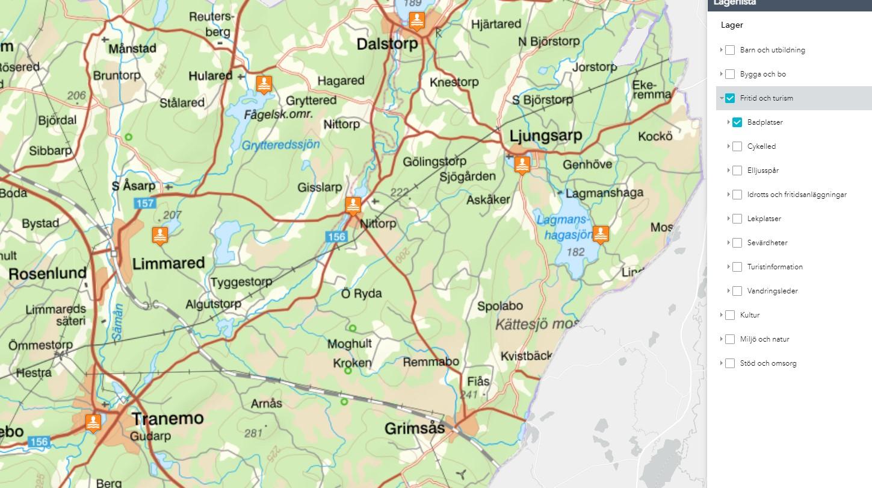 Karta som visar var badplatserna i kommunen ligger