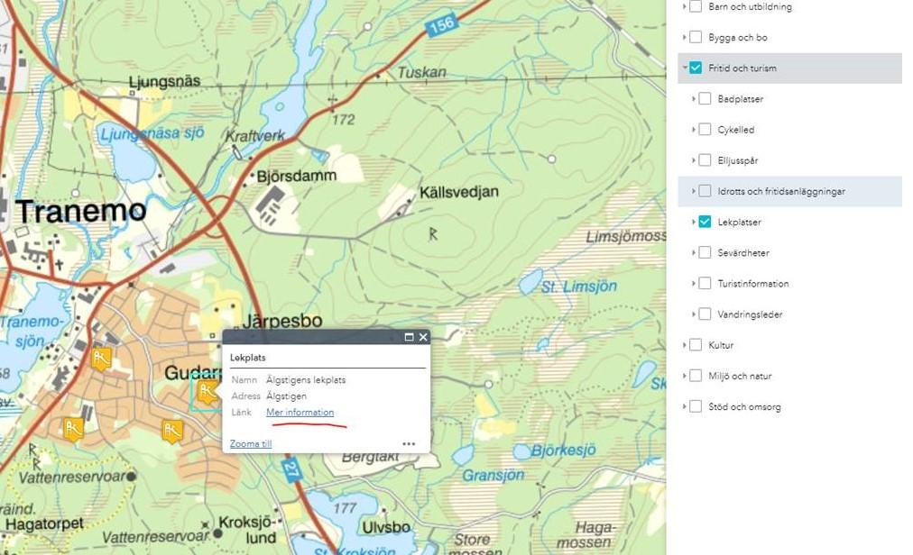 Karta som visar lekplatserna i kommunen
