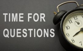 Skylt med texten Time for Questions