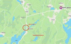 Karta som visar var vägen är avstängd